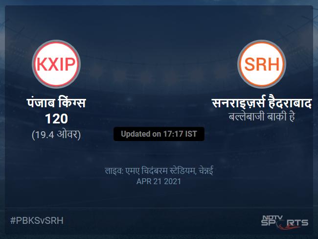 Punjab Kings vs Sunrisers Hyderabad live score over Match 14 T20 16 20 updates
