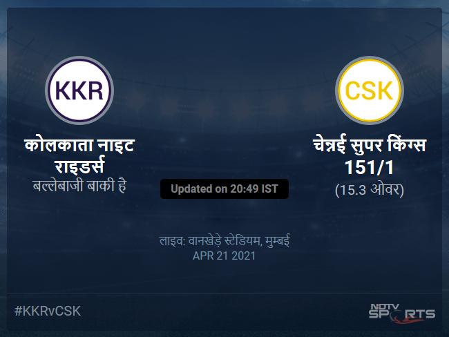 Kolkata Knight Riders vs Chennai Super Kings live score over Match 15 T20 11 15 updates