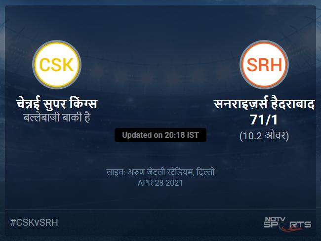 Chennai Super Kings vs Sunrisers Hyderabad live score over Match 23 T20 6 10 updates