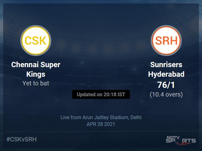 Chennai Super Kings vs Sunrisers Hyderabad: IPL 2021 Live Cricket Score, Live Score Of Todays Match on NDTV Sports