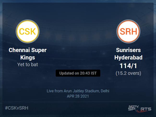 Chennai Super Kings vs Sunrisers Hyderabad Live Score Ball by Ball, IPL 2021 Live Cricket Score Of Todays Match on NDTV Sports