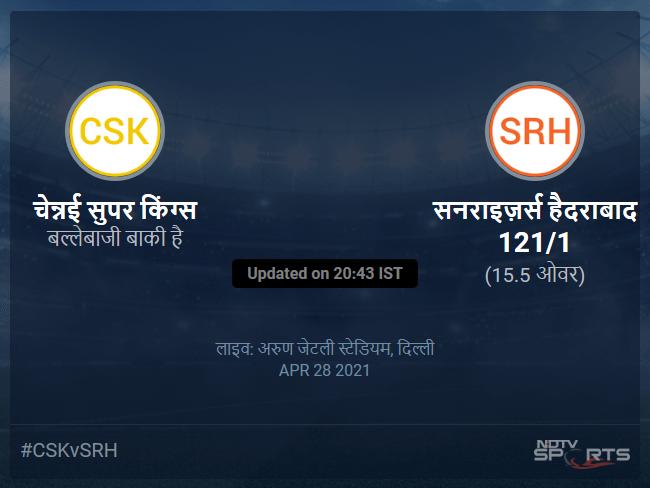 Chennai Super Kings vs Sunrisers Hyderabad live score over Match 23 T20 11 15 updates