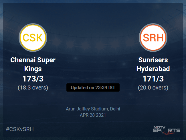 Chennai Super Kings vs Sunrisers Hyderabad Live Score Ball by Ball, IPL 2021 Live Cricket Score Of Today's Match on NDTV Sports