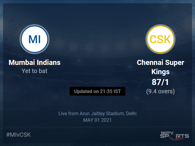 Mumbai Indians vs Chennai Super Kings Live Score Ball by Ball, IPL 2021 Live Cricket Score Of Today's Match on NDTV Sports