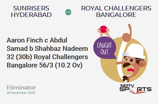 SRH vs RCB: Eliminator: WICKET! Aaron Finch c Abdul Samad b Shahbaz Nadeem 32 (30b, 3x4, 1x6). Royal Challengers Bangalore 56/3 (10.2 Ov). CRR: 5.41