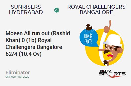 SRH vs RCB: Eliminator: WICKET! Moeen Ali run out (Rashid Khan) 0 (1b, 0x4, 0x6). Royal Challengers Bangalore 62/4 (10.4 Ov). CRR: 5.81