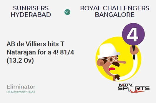 SRH vs RCB: Eliminator: AB de Villiers hits T Natarajan for a 4! Royal Challengers Bangalore 81/4 (13.2 Ov). CRR: 6.07
