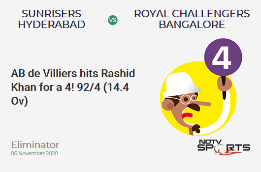 SRH vs RCB: Eliminator: AB de Villiers hits Rashid Khan for a 4! Royal Challengers Bangalore 92/4 (14.4 Ov). CRR: 6.27