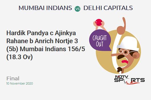 MI vs DC: Final: WICKET! Hardik Pandya c Ajinkya Rahane b Anrich Nortje 3 (5b, 0x4, 0x6). Mumbai Indians 156/5 (18.3 Ov). Target: 157; RRR: 0.67