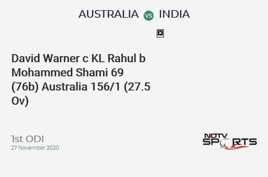 AUS vs IND: 1st ODI: WICKET! David Warner c KL Rahul b Mohammed Shami 69 (76b, 6x4, 0x6). AUS 156/1 (27.5 Ov). CRR: 5.6