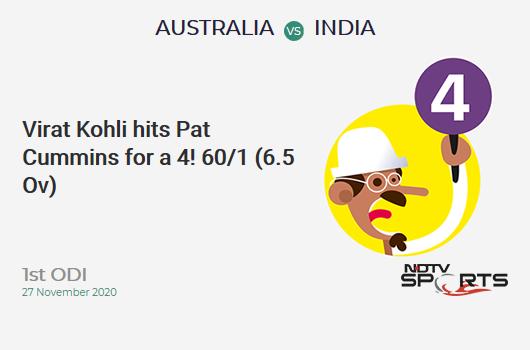 AUS vs IND: 1st ODI: Virat Kohli hits Pat Cummins for a 4! IND 60/1 (6.5 Ov). Target: 375; RRR: 7.30