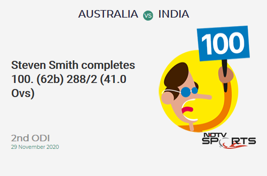 AUS vs IND: 2nd ODI: It's a 100! Steven Smith hits a ton 100 (62b, 13x4, 2x6). AUS 288/2 (41.0 Ovs). CRR: 7.02