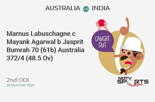 AUS vs IND: 2nd ODI: WICKET! Marnus Labuschagne c Mayank Agarwal b Jasprit Bumrah 70 (61b, 5x4, 0x6). AUS 372/4 (48.5 Ov). CRR: 7.62