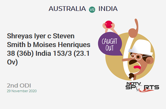 AUS vs IND: 2nd ODI: WICKET! Shreyas Iyer c Steven Smith b Moises Henriques 38 (36b, 5x4, 0x6). IND 153/3 (23.1 Ov). Target: 390; RRR: 8.83