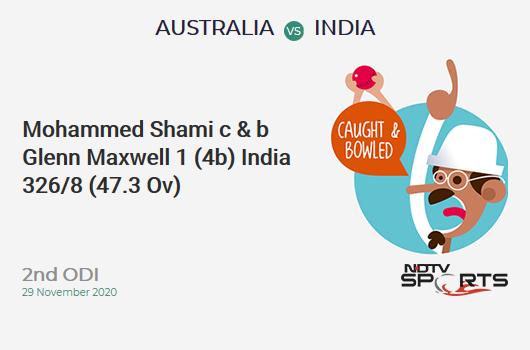 AUS vs IND: 2nd ODI: WICKET! Mohammed Shami c & b Glenn Maxwell 1 (4b, 0x4, 0x6). IND 326/8 (47.3 Ov). Target: 390; RRR: 25.60