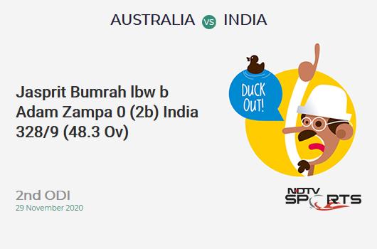 AUS vs IND: 2nd ODI: WICKET! Jasprit Bumrah lbw b Adam Zampa 0 (2b, 0x4, 0x6). IND 328/9 (48.3 Ov). Target: 390; RRR: 41.33