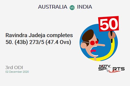 AUS vs IND: 3rd ODI: FIFTY! Ravindra Jadeja completes 51 (43b, 4x4, 2x6). IND 273/5 (47.4 Ovs). CRR: 5.73