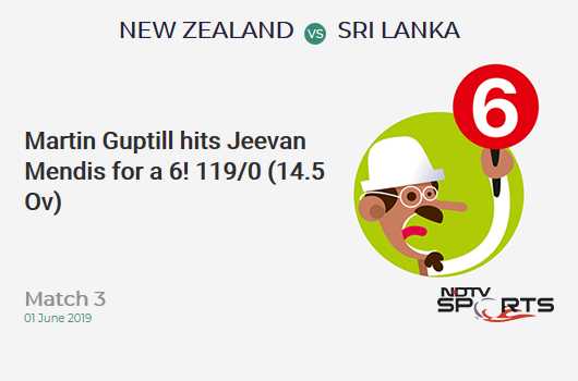 NZ vs SL: Match 3: It's a SIX! Martin Guptill hits Jeevan Mendis. New Zealand 119/0 (14.5 Ov). Target: 137; RRR: 0.51