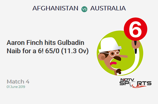 AFG vs AUS: Match 4: It's a SIX! Aaron Finch hits Gulbadin Naib. Australia 65/0 (11.3 Ov). Target: 208; RRR: 3.71