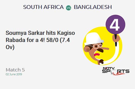 SA vs BAN: Match 5: Soumya Sarkar hits Kagiso Rabada for a 4! Bangladesh 58/0 (7.4 Ov). CRR: 7.56