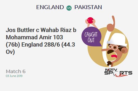 ENG vs PAK: Match 6: WICKET! Jos Buttler c Wahab Riaz b Mohammad Amir 103 (76b, 9x4, 2x6). इंग्लैंड 288/6 (44.3 Ov). Target: 349; RRR: 11.09