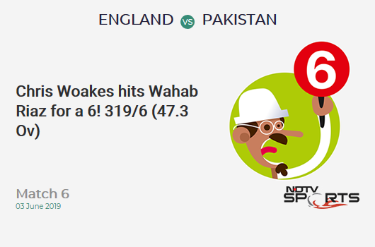 ENG vs PAK: Match 6: It's a SIX! Chris Woakes hits Wahab Riaz. England 319/6 (47.3 Ov). Target: 349; RRR: 12