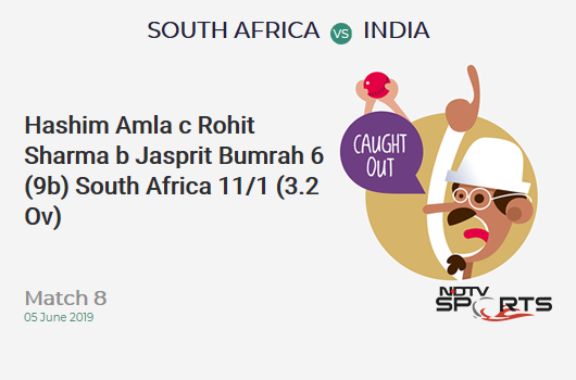 SA vs IND: Match 8: WICKET! Hashim Amla c Rohit Sharma b Jasprit Bumrah 6 (9b, 1x4, 0x6). दक्षिण अफ्रीका 11/1 (3.2 Ov). CRR: 3.3