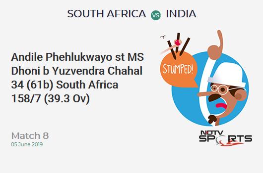 SA vs IND: Match 8: WICKET! Andile Phehlukwayo st MS Dhoni b Yuzvendra Chahal 34 (61b, 2x4, 1x6). दक्षिण अफ्रीका 158/7 (39.3 Ov). CRR: 4