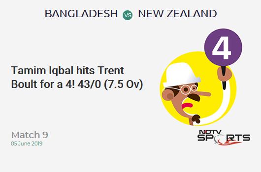 BAN vs NZ: Match 9: Tamim Iqbal hits Trent Boult for a 4! Bangladesh 43/0 (7.5 Ov). CRR: 5.48