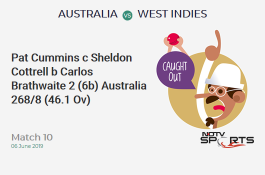 AUS vs WI: Match 10: WICKET! Pat Cummins c Sheldon Cottrell b Carlos Brathwaite 2 (6b, 0x4, 0x6). ऑस्ट्रेलिया 268/8 (46.1 Ov). CRR: 5.80