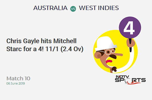 AUS vs WI: Match 10: Chris Gayle hits Mitchell Starc for a 4! West Indies 11/1 (2.4 Ov). Target: 289; RRR: 5.87