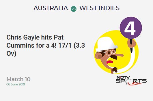 AUS vs WI: Match 10: Chris Gayle hits Pat Cummins for a 4! West Indies 17/1 (3.3 Ov). Target: 289; RRR: 5.85