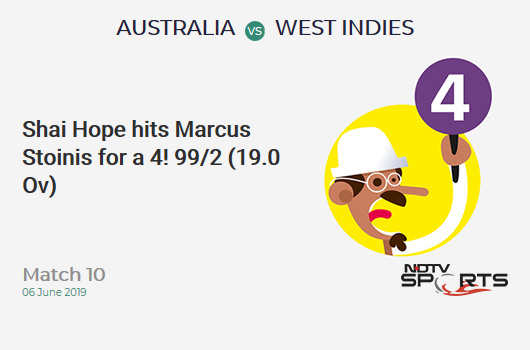 AUS vs WI: Match 10: Shai Hope hits Marcus Stoinis for a 4! West Indies 99/2 (19.0 Ov). Target: 289; RRR: 6.13