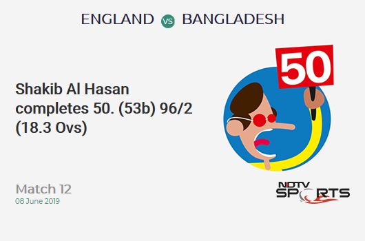 ENG vs BAN: Match 12: FIFTY! Shakib Al Hasan completes 50 (53b, 3x4, 1x6). बांग्लादेश 96/2 (18.3 Ovs). Target: 387; RRR: 9.24