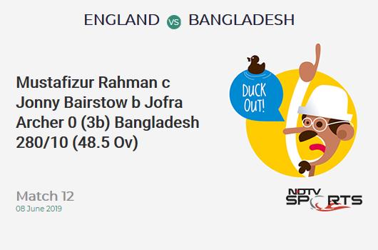 ENG vs BAN: Match 12: WICKET! Mustafizur Rahman c Jonny Bairstow b Jofra Archer 0 (3b, 0x4, 0x6). Bangladesh 280/10 (48.5 Ov). Target: 387; RRR: 91.71