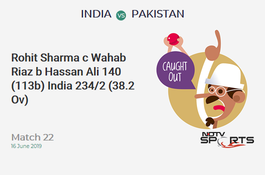 IND vs PAK: Match 22: WICKET! Rohit Sharma c Wahab Riaz b Hassan Ali 140 (113b, 14x4, 3x6). भारत 234/2 (38.2 Ov). CRR: 6.10