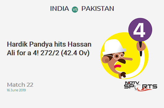 IND vs PAK: Match 22: Hardik Pandya hits Hassan Ali for a 4! India 272/2 (42.4 Ov). CRR: 6.37