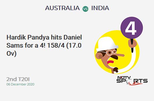 AUS vs IND: 2nd T20I: Hardik Pandya hits Daniel Sams for a 4! IND 158/4 (17.0 Ov). Target: 195; RRR: 12.33