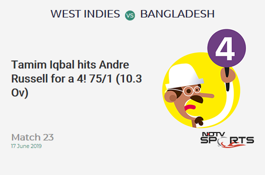 WI vs BAN: Match 23: Tamim Iqbal hits Andre Russell for a 4! Bangladesh 75/1 (10.3 Ov). Target: 322; RRR: 6.25