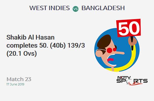WI vs BAN: Match 23: FIFTY! Shakib Al Hasan completes 50 (40b, 7x4, 0x6). बांग्लादेश 139/3 (20.1 Ovs). Target: 322; RRR: 6.13
