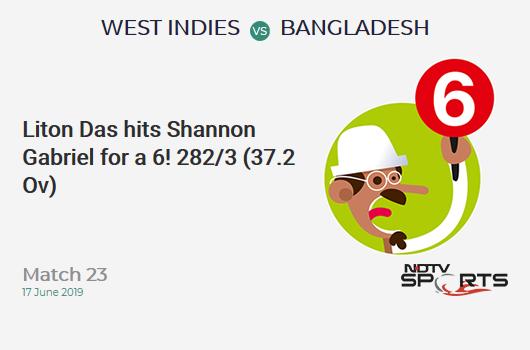 WI vs BAN: Match 23: It's a SIX! Liton Das hits Shannon Gabriel. Bangladesh 282/3 (37.2 Ov). Target: 322; RRR: 3.16