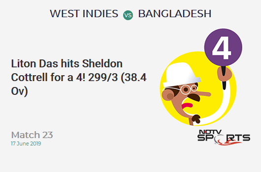 WI vs BAN: Match 23: Liton Das hits Sheldon Cottrell for a 4! Bangladesh 299/3 (38.4 Ov). Target: 322; RRR: 2.03