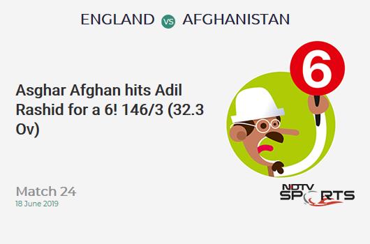 ENG vs AFG: Match 24: It's a SIX! Asghar Afghan hits Adil Rashid. Afghanistan 146/3 (32.3 Ov). Target: 398; RRR: 14.4