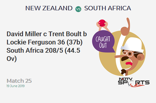 NZ vs SA: Match 25: WICKET! David Miller c Trent Boult b Lockie Ferguson 36 (37b, 2x4, 1x6). दक्षिण अफ्रीका 208/5 (44.5 Ov). CRR: 4.63