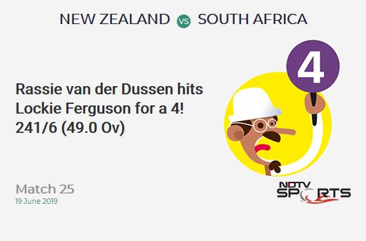 NZ vs SA: Match 25: Rassie van der Dussen hits Lockie Ferguson for a 4! South Africa 241/6 (49.0 Ov). CRR: 4.91