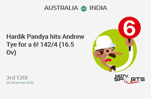 AUS vs IND: 3rd T20I: It's a SIX! Hardik Pandya hits Andrew Tye. IND 142/4 (16.5 Ov). Target: 187; RRR: 14.21