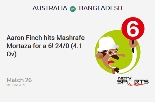 AUS vs BAN: Match 26: It's a SIX! Aaron Finch hits Mashrafe Mortaza. Australia 24/0 (4.1 Ov). CRR: 5.76