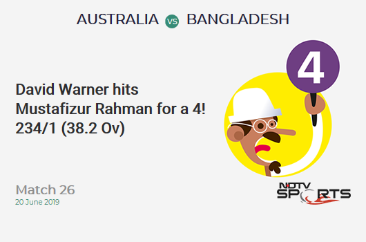 AUS vs BAN: Match 26: David Warner hits Mustafizur Rahman for a 4! Australia 234/1 (38.2 Ov). CRR: 6.10
