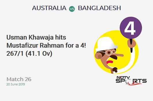 AUS vs BAN: Match 26: Usman Khawaja hits Mustafizur Rahman for a 4! Australia 267/1 (41.1 Ov). CRR: 6.48