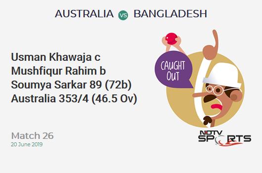 AUS vs BAN: Match 26: WICKET! Usman Khawaja c Mushfiqur Rahim b Soumya Sarkar 89 (72b, 10x4, 0x6). ऑस्ट्रेलिया 353/4 (46.5 Ov). CRR: 7.53